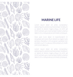 marine life banner template with place for text vector image