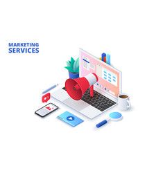 marketing design concept with laptop loudspeaker vector image