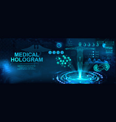 Medical hologram with body in hud style vector