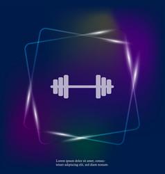 Neon light image dumbbells dumbbell for fitness vector