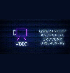 Neon sign video camera symbol with text and vector
