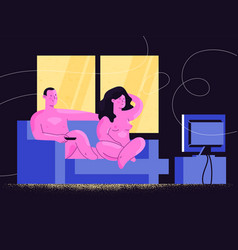 nude man and woman watching tv shows vector image
