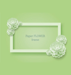 paper flower rectangular rame green background vector image