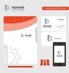 pencil business logo file cover visiting card and vector image