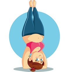 Plus Size Girl Doing a Headstand Cartoon vector image