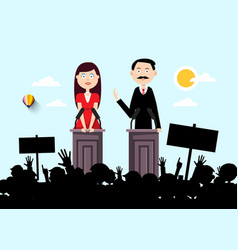 political outdoor meeting with man and woman vector image