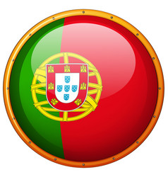 Portugul on round badge vector