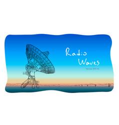 Radio telescope dishes antenna sketch draw vector