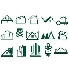 real estate logo set vector image