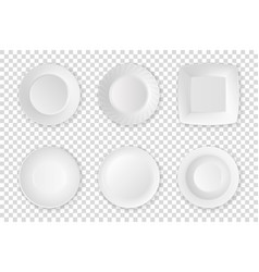 Realistic white food empty plate icon set vector