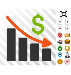 Recession trend icon with bonus vector
