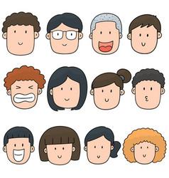 set of cartoon face vector image