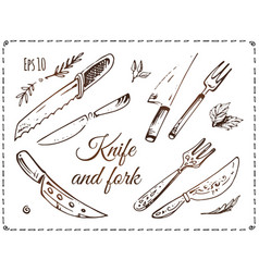 set of cutlery hand drawn on white vector image