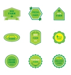 Set of logos for organic and natural farms vector image