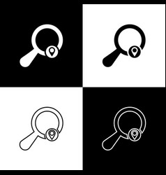 set search location icons isolated on black and vector image