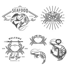 Set vintage seafood labels and design elements vector