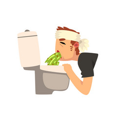 Sick man vomiting into the toilet bowl vector