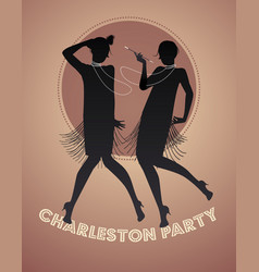 Silhouettes two flapper girls dancing vector