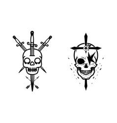 Skull with crossed swords element halloween vector