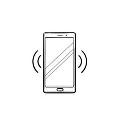 smartphone vibrating hand drawn outline doodle vector image