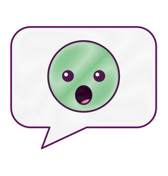 speech bubble and surprised emoticon vector image