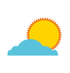 summer sun with cloud isolated icon vector image