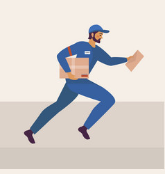 The postman runs and holds parcel and letter vector
