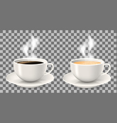 two hot cups of coffee with steam on saucers vector image