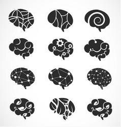 Various brain creation and idea icons vector