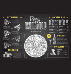 Vintage chalk drawing pizza menu design vector