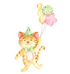 Watercolor happy birthday baby ginger cat vector