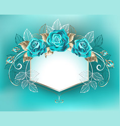 White banner with turquoise roses vector