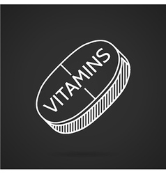 White line icon for vitamin tablet vector image