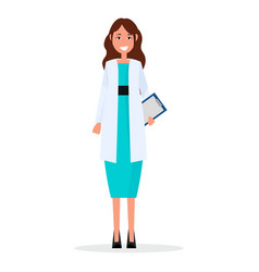 Woman doctor with prescription list isolated vector