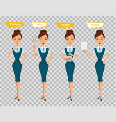 woman standing searchingshowing result on tablet vector image