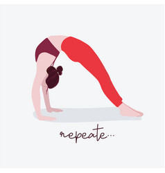 woman yoga with typography flat female sport vector image