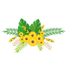 Yellow flowers bunch floral design with leaves vector