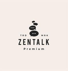 zen talk balancing stone hipster vintage logo icon vector image