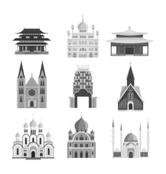 Cathedrals and churches temple building vector image vector image