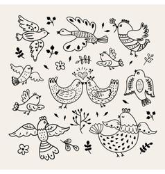 Funny hand drawn birds decorative doodle vector
