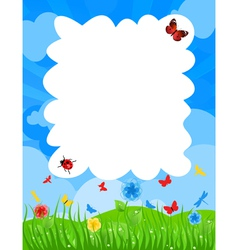 grass on a meadow and the blue sky a vector image
