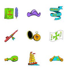pirate travel icons set cartoon style vector image vector image