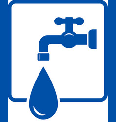 plumbing icon with tap and water drop vector image