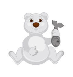 polar bear baby sits and holds fresh fish vector image