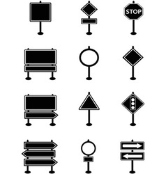 simple traffic sign and road sign icons vector image vector image
