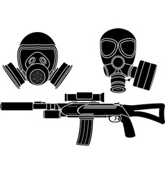 sniper rifle and gas masks stencil vector image vector image