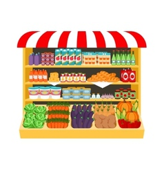 Supermarket Food on shelves vector image