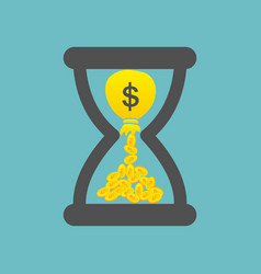 time is money concept with golden coins and bag vector image vector image
