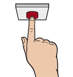 hand pressing alarm button vector image vector image