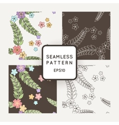 Set of seamless patterns with Japanese vector image